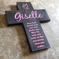 Baptism gift for girl - personalize distressed rustic pine cross / Dove and poem - Great gift for Christening Baptism birthday or any day.  May