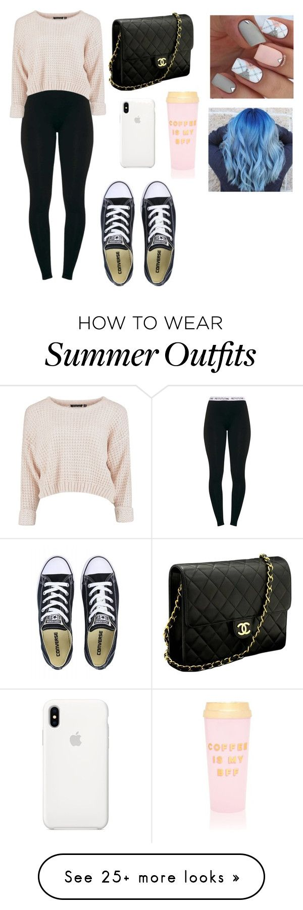 """Going out to lunch outfits"" by isabellaestradaaa on Polyvore featuring Converse, Chanel, Apple and ban.do"