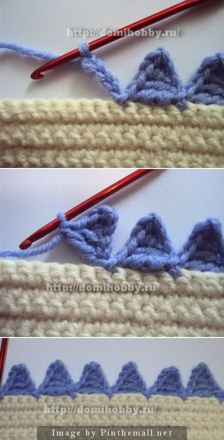 """#Crochet_Tutorial - """"Lovely  little pointed triangle edging! Great for sweater and sleeve hems, blankets, bags, etc. This is really easy to do. It would be very effective in a variegated yarn too! #KnittingGuru ** http://www.KnittingGuru.etsy.com"""