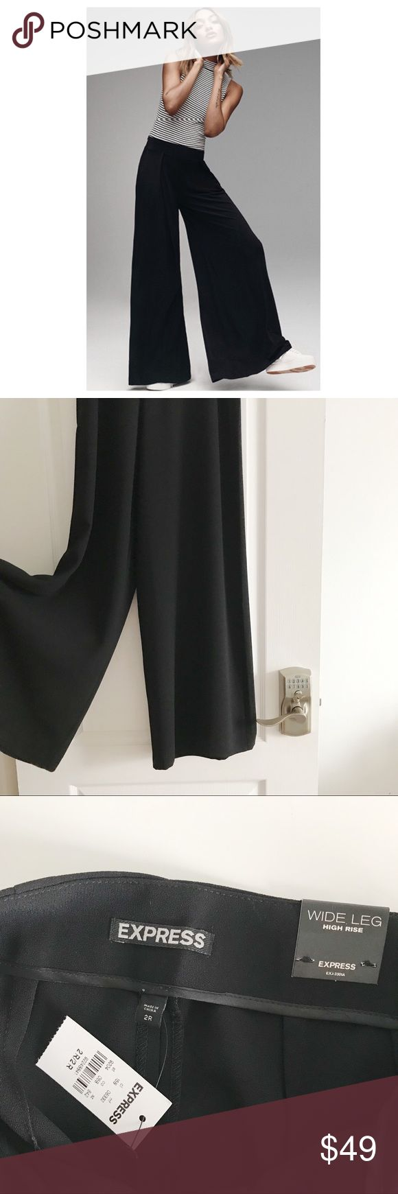 """Express High-Waisted Wide Leg Black Trouser Women's size 2R • Run big, the length an inch or two too long for me but good with a heel  [I'm 5'3""""] • No pockets :( • Never been worn, tags attached • Firmer price Express Pants Wide Leg"""