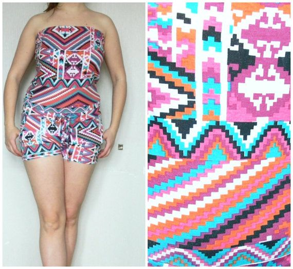 Romper jumpsuit with short legs summer , colored  vintage overall Jumpsuits  pockets  size 10/38  100 % cotton