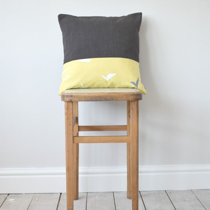 Luxury Grey and Yellow, Geometric Design, Wool and Scion Fabric Cushion by WagnerBirtwistle on Etsy
