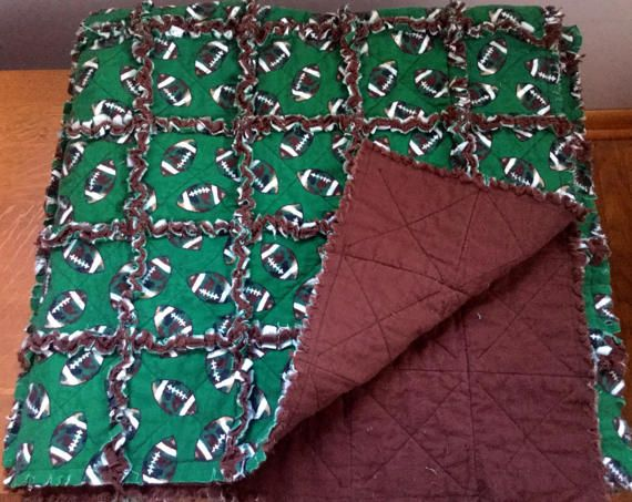 Flannel rag quilt football green and brown