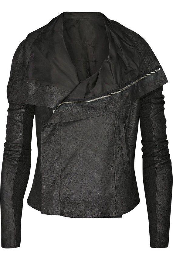 handmade women black Leather Jacket wide collar, women Leather Jacket, stylish collar leather jacket women on Etsy, $149.99