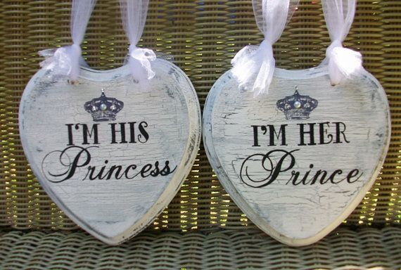 FAIRYTALE Wedding Signs READY to Ship Princess & Prince Wedding Chair Signs with Pearls Crystals and Crown