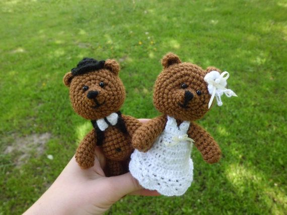 Wedding bears wedding toys amigurumi wedding gift by FunnyAmiToys