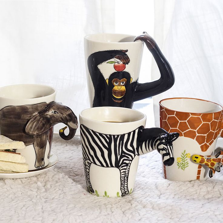 Creative Gift Ceramic Coffee Milk Tea Mug 3d Animal Shape Hand Painted Animals Giraffe Cow Monkey Dog Cat Camel Elephant Cup-in Mugs from Home & Garden on Aliexpress.com | Alibaba Group