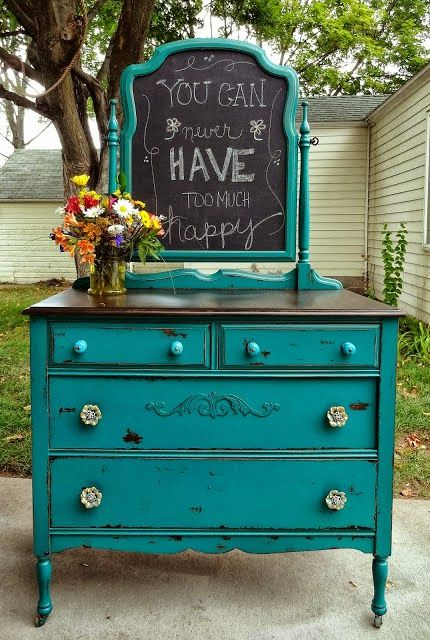 Turquoise dresser, white wash nobs, dark top, mirror turned chalk board