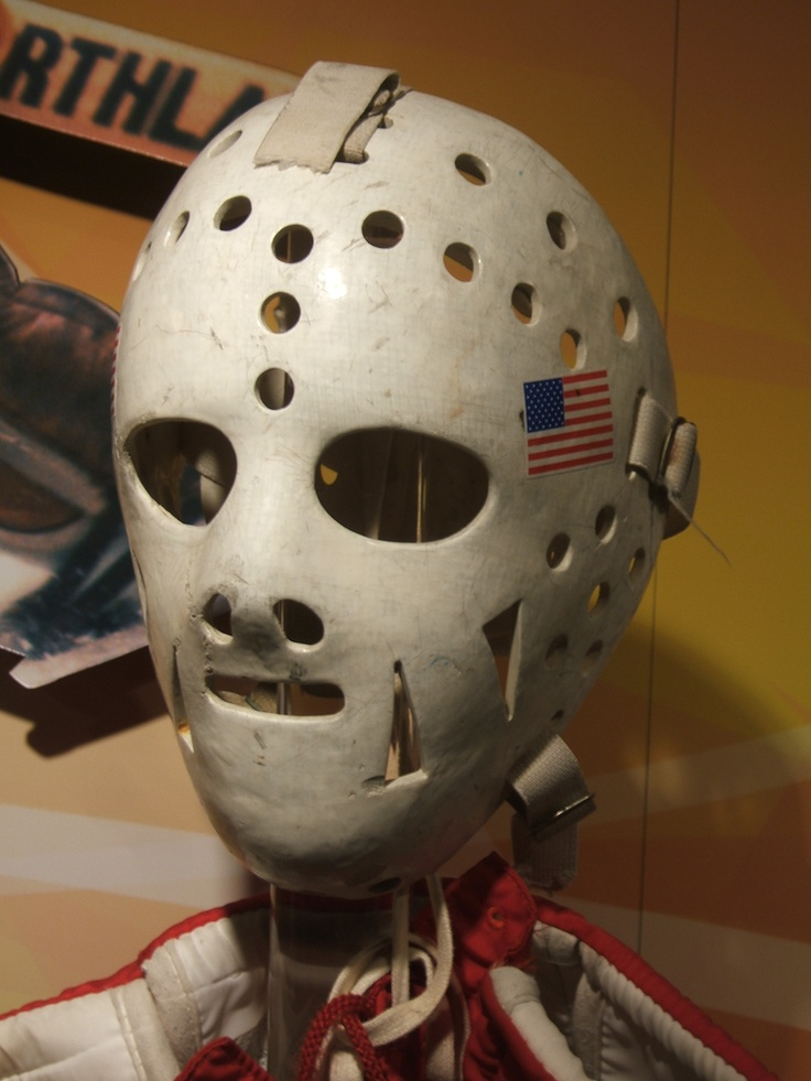 Jim Craig's mask from 1980 Olympics, in Hockey Hall of Fame