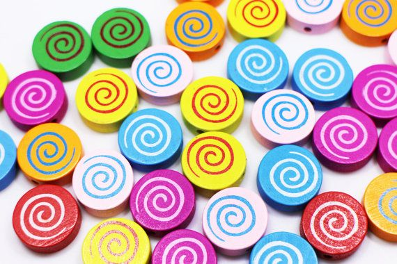 Lollipop Wooden Bead Round-shaped Wood by boysenberryaccessory