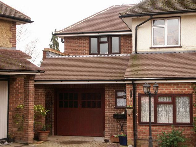 This 2 storey extension looks in keeping with the original building using the same or similar bricks and tiles...
