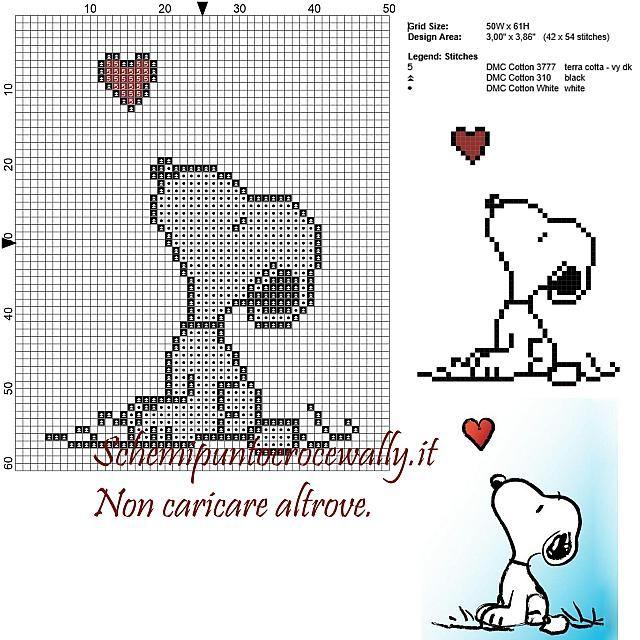 Snoopy e il cuore schema punto croce 50x60 3 colori
