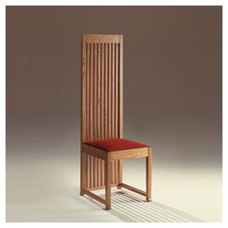 """""""Robie Dining Chair"""" by Frank Lloyd Wright (1908). Wright often made his dining chair backs tall to create 'walls' around the dining table."""