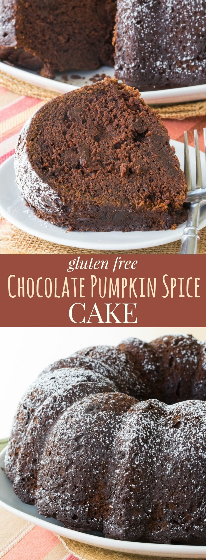 Gluten Free Chocolate Pumpkin Spice Cake - bundt cake recipe for a fall dessert