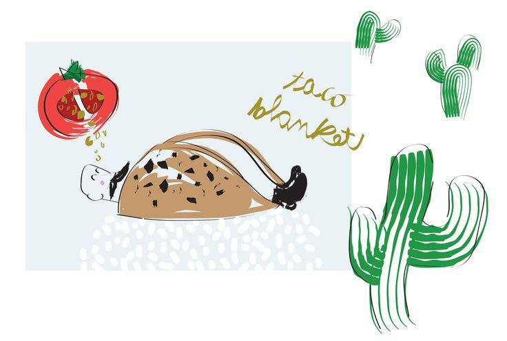 #illustration #MLC #taco #cactus #blanket http://letiziamlc.tumblr.com/