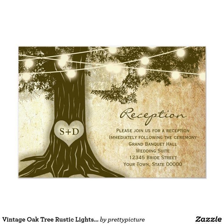 wedding invitation wording with no reception%0A Vintage Oak Tree Rustic Lights Reception Info Card  Wedding Invitation  WordingWedding