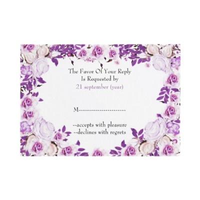 Cute purple wedding reply cards