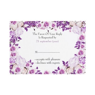 Cute purple wedding reply cards