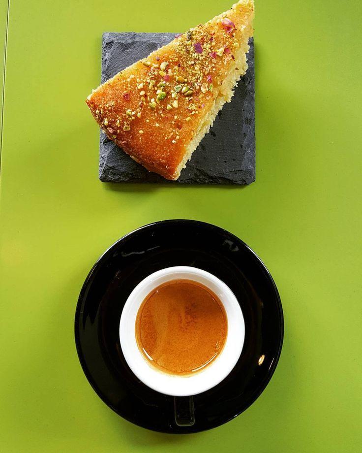 Perfect match. Brazil&Ethiopia espresso & Persian Love Cake with pistacchio, rosewater & lime.