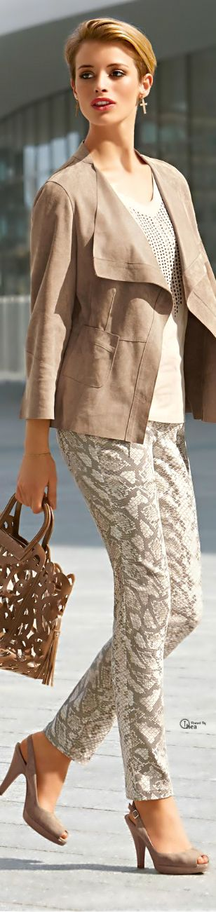 Neutral Spring Fashion ~ Linen Cropped Jacket  w pattern pant, 2015