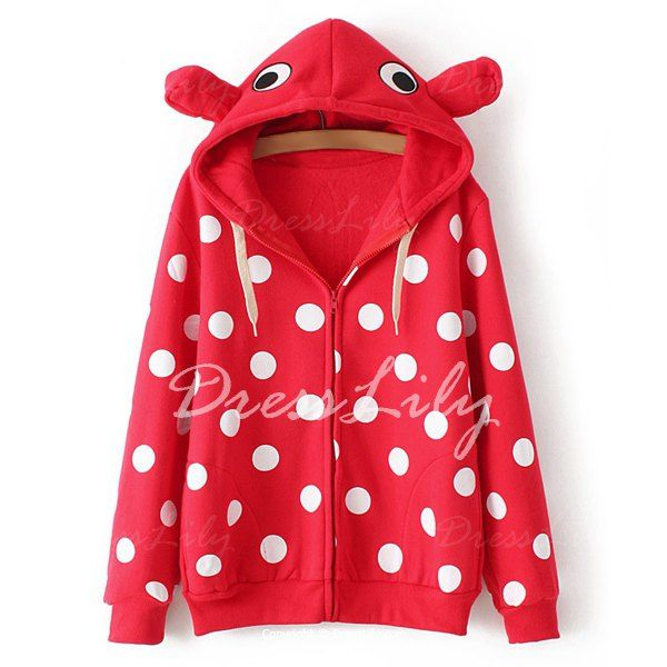 Fashionable Hooded Long Sleeve Polka Dot Print Zipper Women's Hoodie, RED, ONE SIZE(FIT SIZE XS TO M) in Sweatshirts & Hoodies | DressLily.com