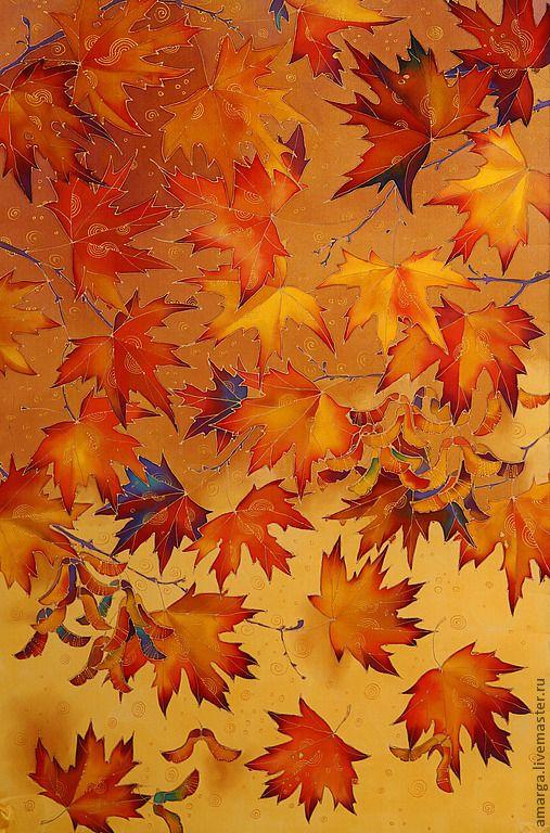 """Купить батик палантин """"Кленовые листья"""" - рыжий, рисунок, кленовые листья, листопад, осень 2012"""