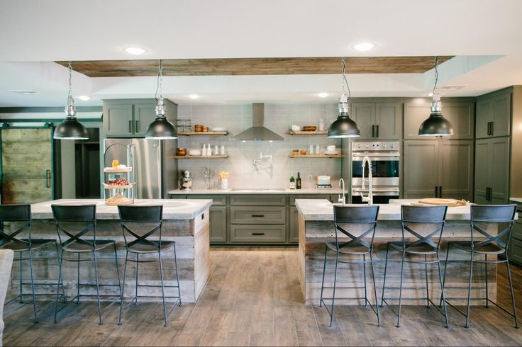 Love this masculine, modern rustic kitchen (and the whole house, really.) designed by Joanna Gaines