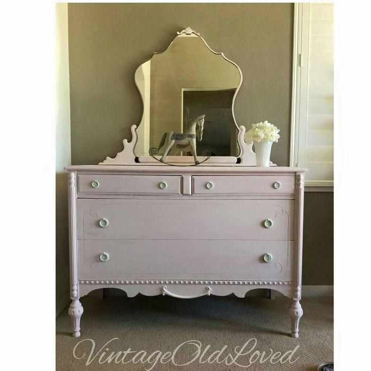 Vintage Painted 1930s Dresser Pink White Washed Furniture