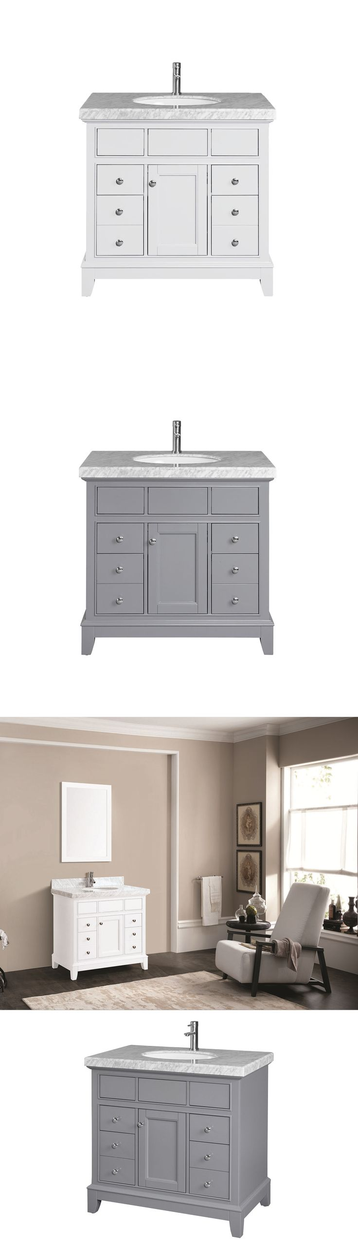 Wyndham collection amare 48 quot dove gray single vanity white man made - Vanities 115625 Daytona 36 Inch Small Bathroom Vanity Cabinet Single Sink 1 Door 4 Drawers
