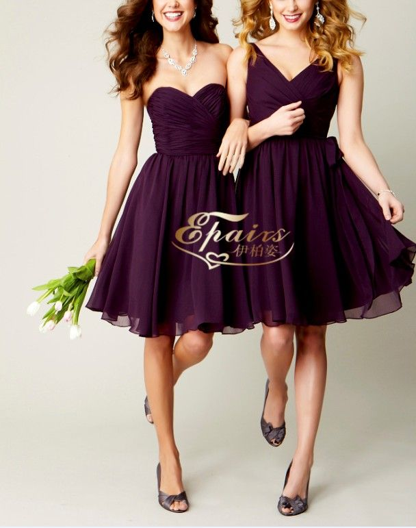 Purple Maid Of Honor Dresses | China 2013 Latest Chiffon Purple Ruffle Short Maid of Honor Dress ...