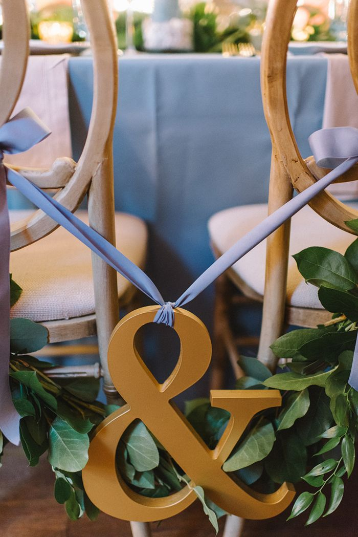 Greenery and Gold Ampersand Wedding Chair Sign