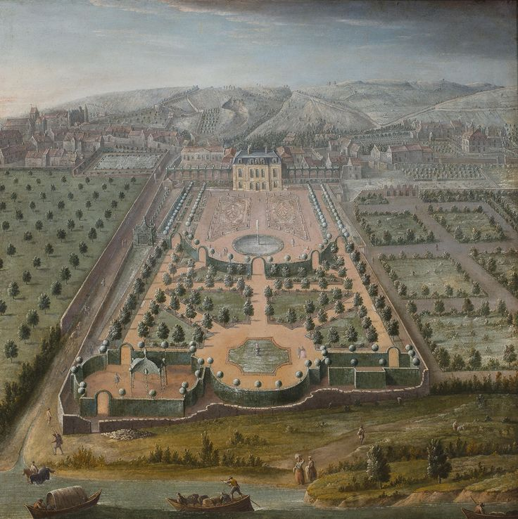 A French estate 18th century park view - French formal garden