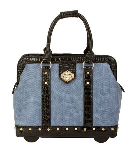 "Arriving Early October -- ""SINGING THE BLUES"" Python Rolling Laptop Carryall Trolley Bag"