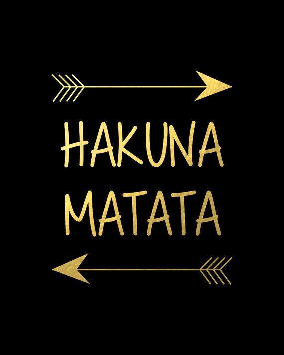 Hakuna Matata Disney Lion King Poster, Black Gold Wall Artwork Nursery Print Decor Children Room Printable Dwelling Decor A3 8×10 Children Poster