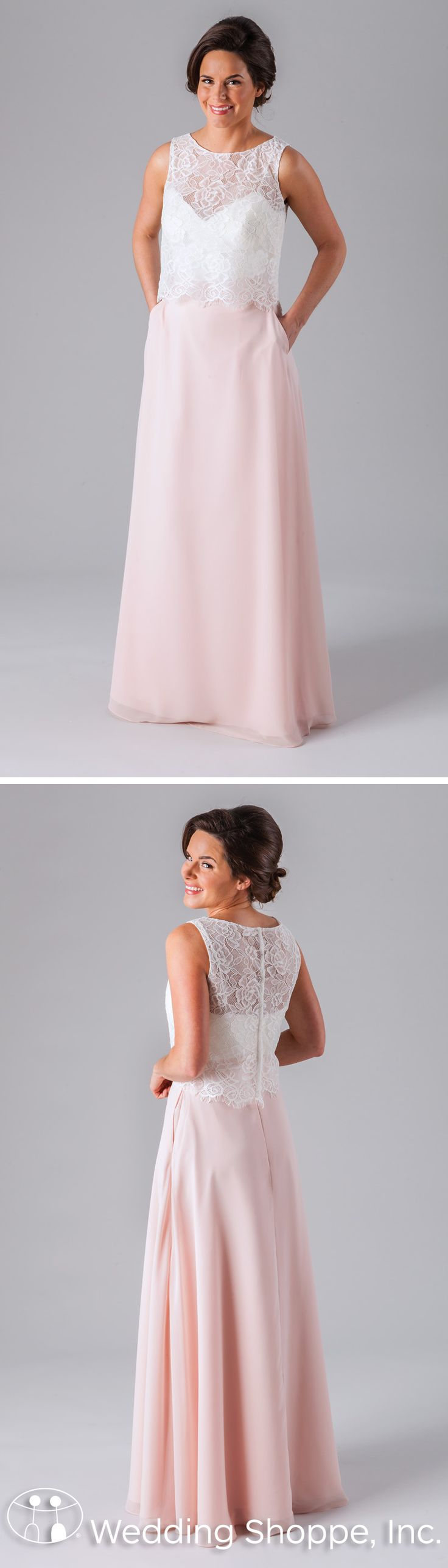 A two-piece bridesmaid dress from Kennedy Blue featuring a lace illusion neckline top and long chiffon skirt.