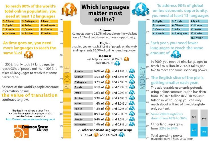 Which languages matter the most online? This inforgraphic from Common Sense Advisory tells you!