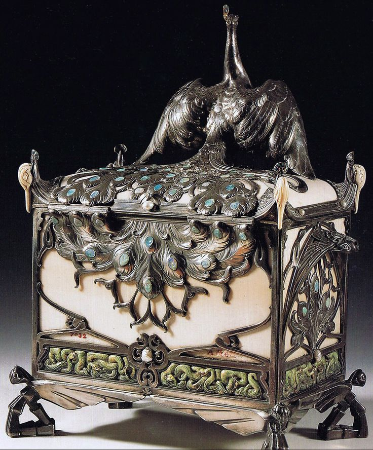 Art Nouveau - Boite à Bijoux 'Paon' - Philippe Wolfers - 1905