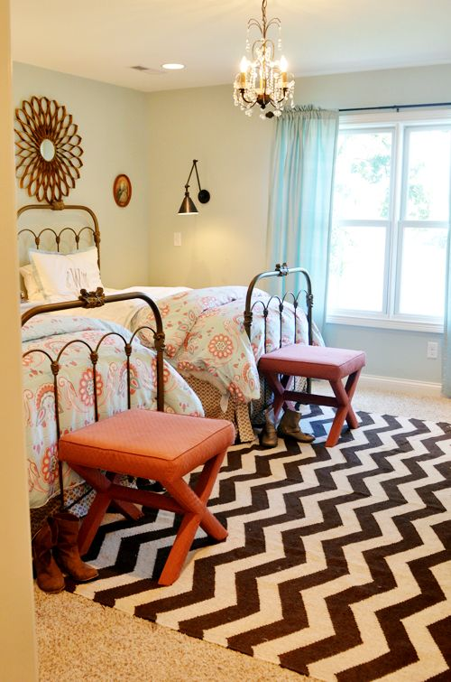 still love this room: Shared Room, Girls Room, Sea Salts, Beds Frames, Shared Bedrooms, Guest Rooms, Girl Rooms, Chevron Rugs, Girls Bedrooms Shared Ideas