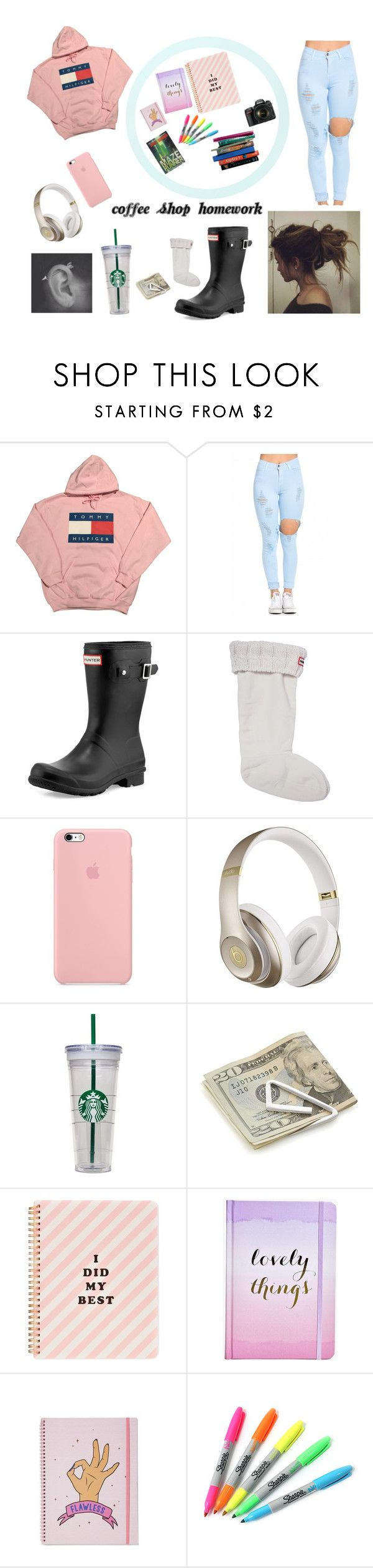 """""""Coffee shop homework"""" by kylieirwin11 ❤ liked on Polyvore featuring Hunter, Beats by Dr. Dre, Crate and Barrel, ban.do, Boohoo, Sharpie and 7 For All Mankind"""