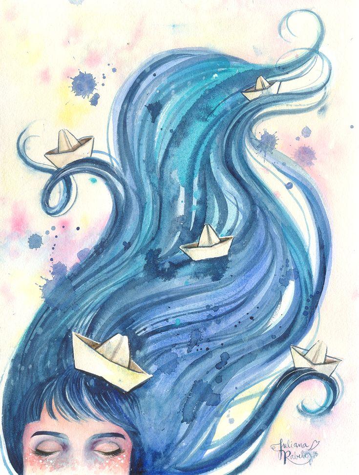 Linda imagem feita por Juliana Rabelo. Cabelos azuis, barquinhos e aquarela. Perfeito!