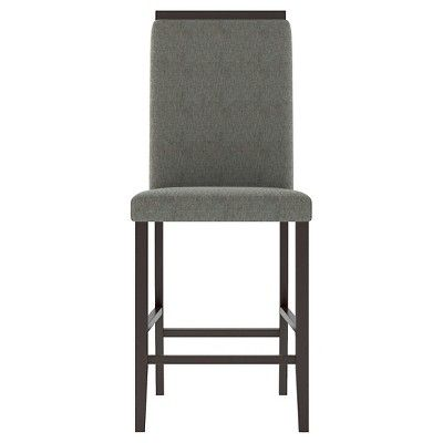 Bistro Upholstered Counter Height Dining Chair Wood/Pewter Grey (Set of 2) - CorLiving