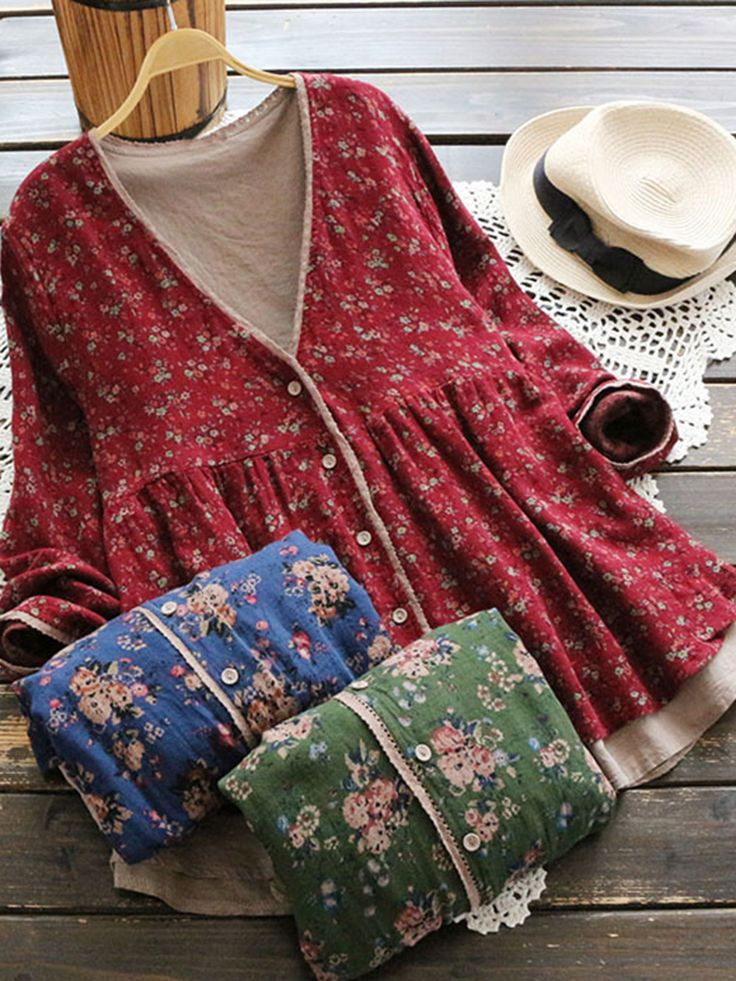 Vintage Women Floral Print Fake Two Pieces Long Sleeve Coats