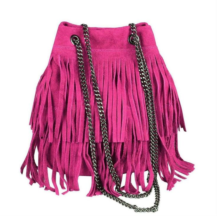Photo of ITAL LEATHER HANDBAG Fringed Shopper Chain Suede Shoulder Bag Crossover Bag