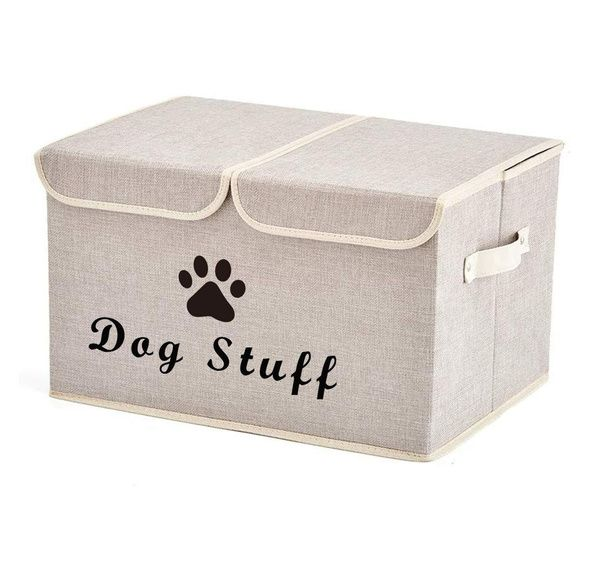 Morezi Large Dog Toys Storage Box Canvas Storage Basket Bin Organizer With Lid Perfect Collapsible Bin For Organizing Dog Cat Toys And Accessories Beige Wis In 2021 Toy Storage