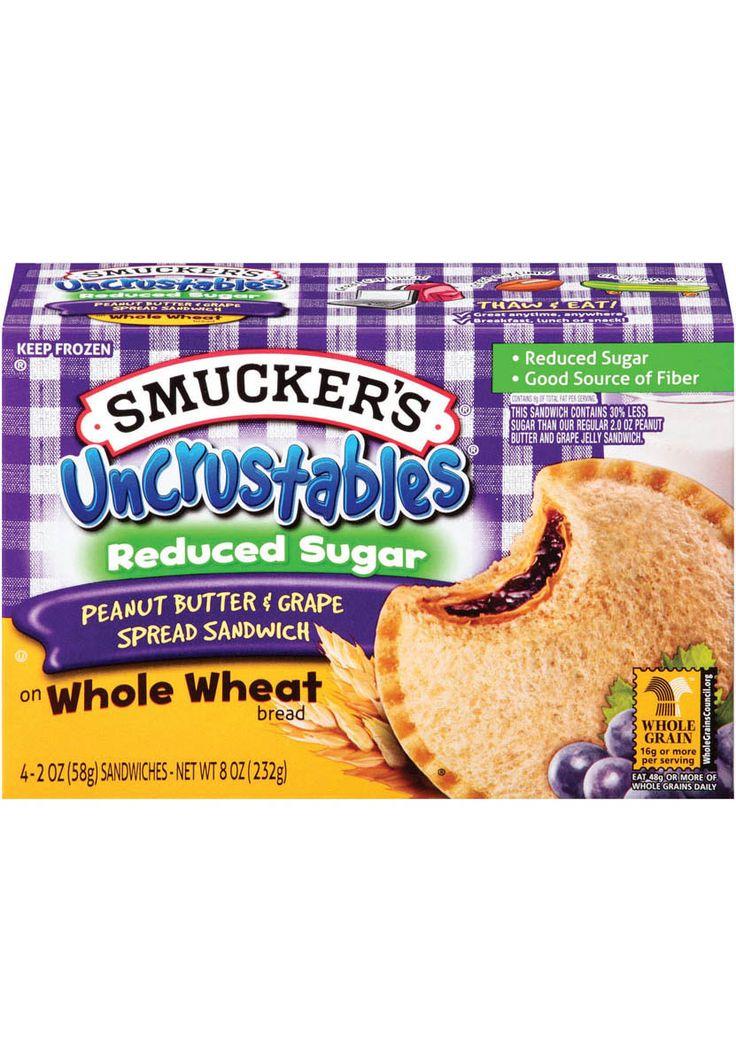 Uncrustables® Reduced Sugar Peanut Butter & Grape Spread Sandwich on Whole Wheat