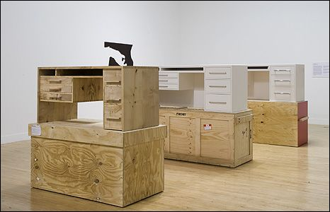 Three White Desks 2008-09, by Simon Starling. Credit: Tate Photography