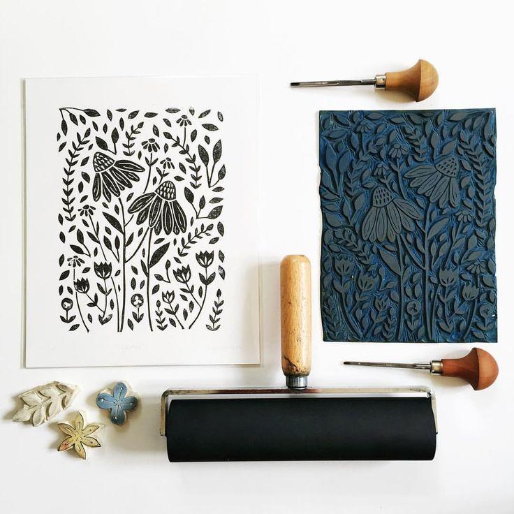 Floral linocut print in black by Richelle Bergen