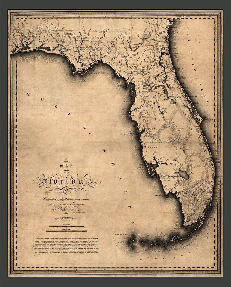 FLORIDA MAP 1823 Antique wall decor America