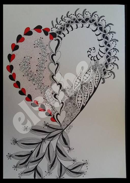 Big heart - zentangle art