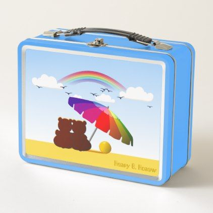 Cute Beach Bears VZS2 Metal Lunch Box - kitchen gifts diy ideas decor special unique individual customized